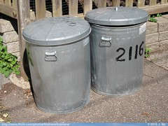 Trash cans (TheTransitCamera) Tags: metal trash cans waste industry hauler collection recycle garbage rubbish basura