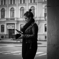 Day 113 - Unknown Caller (dennisdasfoto) Tags: street bw woman white black girl oneaday mobile project handy photography phone sweden candid telephone schweden mobil smartphone photoaday april sverige 365 frau telefon pictureaday 366 kristinehamn project365 365days 3651 kvinna project3651 project365113 project366 project365042212 project36522apr12
