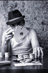 Day 121 / 366 (robthelucky) Tags: wallpaper blackandwhite playing man hat hearts cards chips poker aces spades pocketaces strobist robfutrellrobfutrellcomrobtheluckyrobtheluckyrobertfutrell