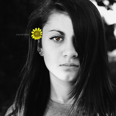 i am (Laurarama) Tags: portrait blackandwhite flower color eye square eyes may note teen human hc selective odc behindtheear laurarama aflowerbehindtheearhascertainmeaningsinvariousculturesthroughhistory