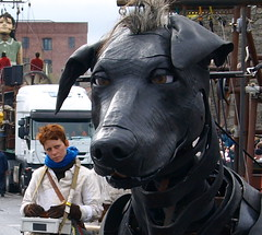 Giant puppets in Liverpool for Sea Odyssey Titanic event (15) (Tony Worrall) Tags: show street uk england urban pet black cute art liverpool french european display artistic walk anniversary uncle canine tourist event puppets strings diver doggy titanic legacy roam merseyside royaldeluxe xolo giantpuppets littlegirlgiant puppetdog liverpoolcapitalofculture 2012tonyworrall theseaodyssey