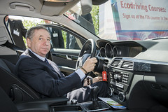Jean Todt behind a Mercedes-Benz wheel