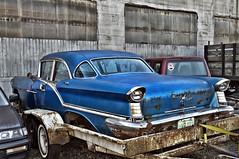 1957 Oldsmobile 98 (Curtis Gregory Perry) Tags: auto door old blue car sedan four washington automobile 4 mobil 1957 motor trailer 57 olds oldsmobile automvil xe automobil     samochd  kotse  otomobil hoquiam   hi   bifrei  automobili   gluaisten