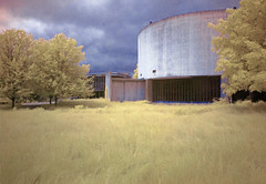 Cylorama IR (Andrew Aliferis) Tags: abandoned andy architecture photoshop ir exterior grove pennsylvania andrew pa architect gettysburg national infrared battlefield cyclorama aga modernist falsecolor falsecolour mission66 richardneutra zeiglers aliferis rm90