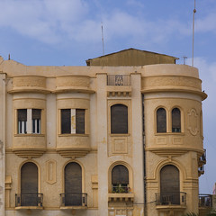 Italian Colonial Architecture in Benghazi, Libya. (Eric Lafforgue) Tags: africa color building vertical architecture square outdoors italia northafrica colonial nobody nopeople libya benghazi libia libye libyen colorpicture lbia europeanquarter italiancolony cyrenaica libi libiya  ribia liviya libija colourpicture       lbija  lby  libja lbya liiba livi  a0014754
