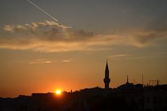 Sunset (scuba_dooba) Tags: old city sunset turkey contrail minaret istanbul sultanahmet