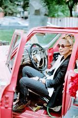 Tako (My . December) Tags: street camera pink flowers portrait color film girl car analog vintage georgia lens photography 50mm glasses md fuji minolta style 200 roll bracelets mydecember tbilisi x700 f17 nikolozjorjikashvili
