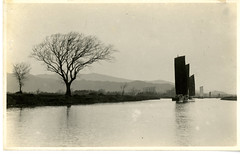 China, Miscellaneous Scenes: Hill and creek with boats near Soochow