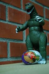 Godzilla has an announcement to make (John 3000) Tags: brick monster mystery movie toy toys japanese dinosaur action reptile chocolate egg capsule kinder godzilla figure surprise huevo juguetes gojira toho hatching hatchling knockoff  chocotreasure