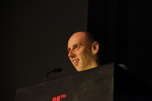Ewen Bremner presenting the International Shorts Award at the 2012 EIFF Awards ceremony at the Filmhouse