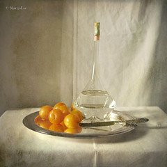 Still Life with Yellow Plums (MargoLuc) Tags: light summer stilllife texture glass yellow fruit reflections silverware knight tray plums susine vintagebottle platinumheartaward