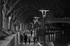 Nightscape on the Yarra - Winters Night (Spanrz) Tags: street family bw white black night canon river photography is walk melbourne ii l yarra pathway 70200mm 500d bbwp