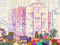 my own summer (crosti) Tags: city summer vacation urban plants dog sun holiday hot love girl illustration cat buildings happy hongkong reading book scenery warm alone sad view skyscrapers chairs terrace balcony style athens pillows greece pots tall lantern noise dull bohemian morrocan appartmentbuildings crosti christinatsevis