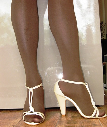 wife wearing pantyhose sandals
