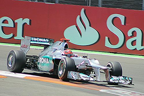 Michael Scumacher in his Mercedes F1 car during the 2012 European Grand Prix in Valencia