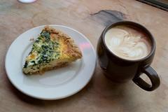 Latte and quiche, spinach Florentine (javajoba) Tags: atlanta breakfast georgia latte smyrna quiche coffeeart revcoffee