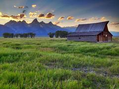"Teton Sunset behind Moulton Barn (IronRodArt - Royce Bair (""Star Shooter"")) Tags: sunset usa grass rural america landscape grand western tetons grandtetonnationalpark blueribbonwinner moultonbarn thomasmoultonbarn iphone4s"