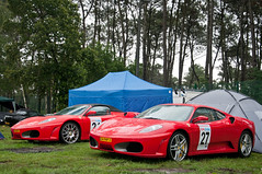 Ferrari F430 & F430 Spider (BenjiAuto (Ratet B. Photographie)) Tags: road park camping trees red france cars sport race spider stand tents italian nikon italia parking gear ferrari pit racing course exotic mans le lane enzo hours 24 autos modena races circuit rosso luxury scuderia supercar challenge maranello f430 supercars combo dunlop paddock chicane 18105 lms courbe mugello 55200 sarthe paddocks heures fiorano d90 argane ratet worldcars hypercars hunaudires muslanne