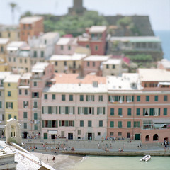 Vernazza (christian.senger) Tags: travel sea summer people italy house 6x6 film beach rollei analog rolleiflex mediumformat geotagged miniature europe soft dof village kodak outdoor liguria explore squareformat sl66 cinqueterre vernazza tilt lightroom ektar carlzeiss scheimpflug vuescan colorperfect photostudio13 christiansenger:year=2012