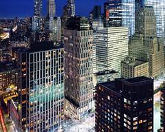 lower manhattan at night, nyc (andrew c mace) Tags: nyc newyorkcity longexposure roof film rooftop night analog twilight dusk manhattan aerial brooklynbridge 4x5 westsidehighway provia largeformat lowermanhattan schneider woolworthbuilding