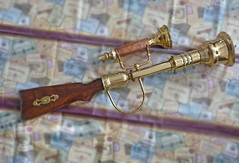 Brass steampunk rifle full view to right (sundogrr) Tags: clock gun scope stock rifle barrel steam weapon brass gears steampunk coppe