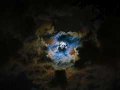 There's a bad moon on the rise (Creepella Gruesome) Tags: nature moon clouds sky night evening dark light spooky mysterious phantasm