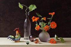 Song of Rooster (Esther Spektor - Thanks for 11+ millions views..) Tags: stilllife naturemorte bodegon naturezamorta stilleben naturamorta composition art creativephotography artisticphoto arrangement tabletop summer morning song flowers bouquet nasturtium rooster bottle vase ball glass pattern availablelight reflection red green orange mauve blue burgundy beige brown estherspektor canon wow