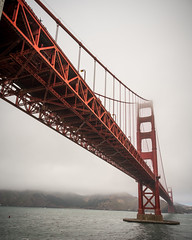From Beneath (Fret Spider) Tags: sonya7rii canonef24mmf14liiusm mirrorless sfo sanfrancisco california wideangle ultrawideangle bay citybythebay water pacificocean cloudy weather july summer vacation wave fog bridge structure architecture windy wind