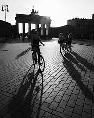 Berlin - Brandenburg Gate (PeskyMesky) Tags: berlin brandenburggate germany monochrome blackandwhite blackwhite bw pointofview pov bike shadow lowsun