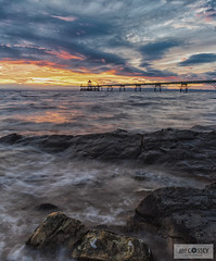 On The Rocks (JimCosseyPhotography) Tags: mft lumix panasonic gx8 samyang 12mm 10stop nd filter longexposure clevedonpier somerset uk england sunset evening waves seascape coastal colour sky clouds