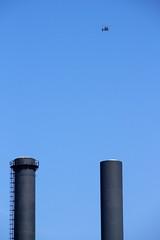 Ptuii! (mikkelfrimerrasmussen) Tags: tmmergraven skorsten bl himmel helikopter heli helicopter chopper chimney blue sky kbenhavn copenhagen