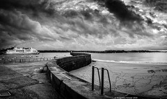 The mole in moody monochrome (frattonparker) Tags: nikond7000 nikkor18200mmvrzoom raw panorama monochrome lightroom6 frattonparker btonner stmalo jetty serpentine ferry sky sea englishchannel lamanche november sand beach