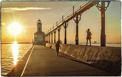 Walking Toward The Light (JB_Atlanta) Tags: indiana lakemichigan lakeshore michigancityindiana summer sunset michigancity unitedstates