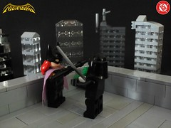 Nightwing - Heir To The Demon #2 (The_Lego_Guy) Tags: lego batman nightwing batgirl league assassins fighting rooftop battle micro builds dick richard grayson barbara gordon bo staff bostaff katana swords archer not in this shot the guy thelegoguy custom vambraces