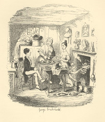 Jemima Evans (Rescued by Rover) Tags: george cruikshank charles dickens sketches boz victorian london illustration fireplace kettle tea meal bonnets cat hearth bread