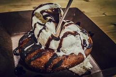 Crme brle doughnut (Melissa Maples) Tags: copenhagen denmark europe apple iphone iphone6 cameraphone copenhagenstreetfood paperisland dessert food crmebrle doughnut chocolatesauce icecream papiren