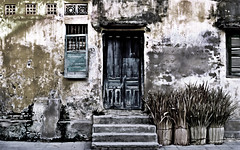 Vietnamese Facade - analog - (SILVA CAPITANA) Tags: chinesewall vietnam asia hoian architecture facade urban urbanart urbanlandscape houses greenwindow woodenwindow yellowwall bluedoor darkbluedoor woodendoor textures oldwall livinghouse abstract abstractart fineart streetart urbanstreetart art travel southeastasia streetlife documentation yellow blue green texture abstraction wall fadedcolors digitalpainting asian impression old houes architeture vietnamese faded colors landscape wooden door antique photo analog photography nikon f90x reportage daily life south east southeast city town history past vietnames