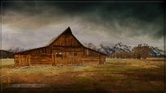 Teton Barn (Just Used Pixels) Tags: usa snow storm texture clouds barn jackson wyoming peaks tetons mountians textured tetonrange grandtetonnationalpark mormonrow mormonbarn