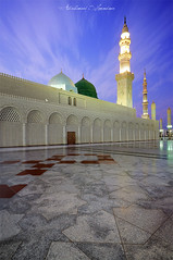 Green Dome (A. Shamandour) Tags: sunset sky color colour green mix islam mosque holly mohammed madina syria mixing scape damascus saudiarabia prophet mohammad shuterspeed munawara abdulhameedshamandour