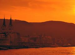 Rhine River evening (silverwine) Tags: sunset orange germany nikon rhine d7000 mygearandme