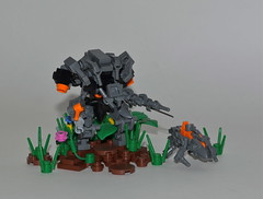 """Unknown Enemies"" ([Renegade]) Tags: lego 4 halo jungle knight blade requiem productions enemy renegade enemies crawler promethean brickjet"