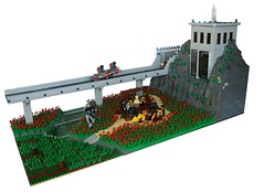 Field of Blood (tin) Tags: bridge flowers river lego military bap competition creation scifi hanging annual ba build own hung gallows moc atin my brickarms