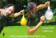Water balloon Canon 5DIII 1/8000 second (Mike Black photography) Tags: new orange usa black green mike water speed canon balloon nj fast harold super pop odd shutter jersey second unusual dslr sec ultra edgerton facebook waterballoon twop 18000 18000sec
