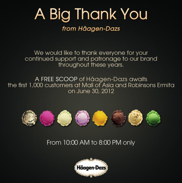 Haagen-Dazs is offering FREE scoops of their ice cream TODAY - June 30th