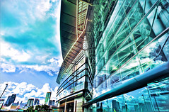 Hong Kong Convention and Exhibition Centre (mozartet) Tags: china sky cloud reflection photoshop hongkong nikon 20mm hdr wanchai artizen d700