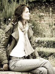 Marille, South East England 2009: Cold summer (mdiepraam) Tags: portrait england woman beautiful leather lady scarf belt pretty gorgeous coat south hampshire jeans mature attractive denim brunette milf 2009 marielle whitetop fortysomething