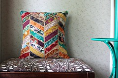 Indie Pillow inspired by West Elm Kantha Chevron Pillows -- tutorial to come soon!! To be shared on the West Elm blog! (maureencracknell) Tags: linen sewing pillow indie patchwork chevron westelm artgalleryfabrics patbravo