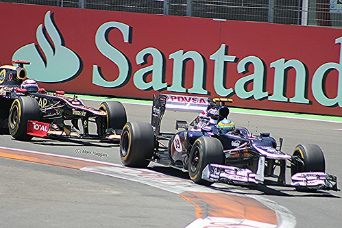 Kimi Raikkonen in his Lotus catches Bruno Senna in his Williams at the 2012 European Grand Prix in Valencia