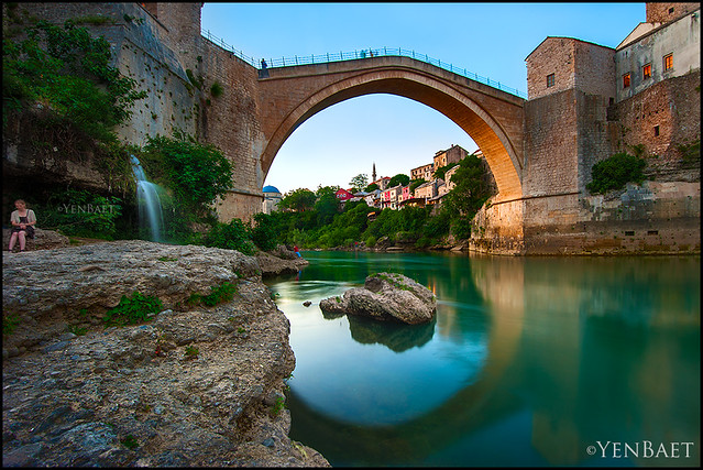 Mostar - Stari Most, the Old Bridge at Dusk