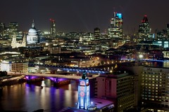 London (Duncan George) Tags: london skyline architecture night skyscraper nikon cityscape skyscrapers streetlights olympics stpaulscathedral riverthames cityatnight cityoflondon oxotower blackfriarsbridge towerblocks d800e